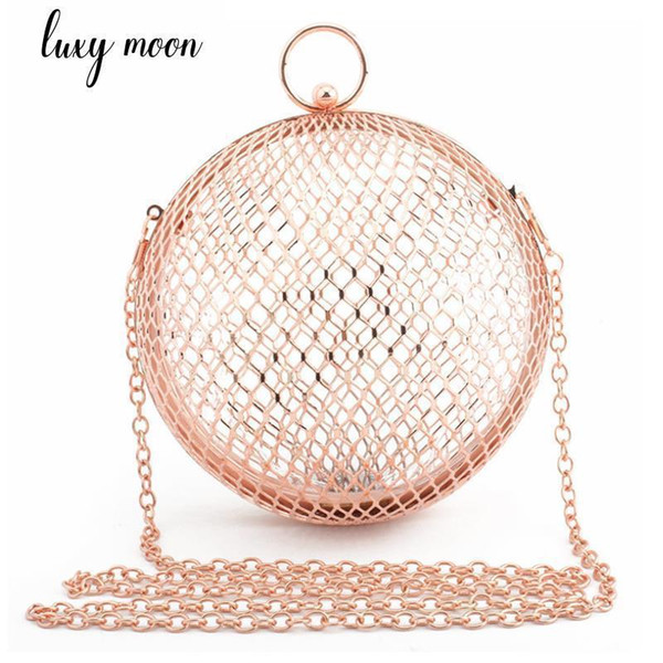Pop Nice Hollow Out Purse And Handbags Fashion Metal Day Clutch Lady Clutches Party Bag Gold Evening Bags Chains Shoulder Bag
