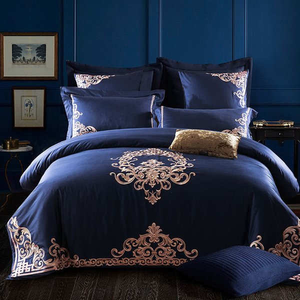 Embroidered Egyptian Cotton Bedding Sets Queen King Size flat Bed sheet Pillowcases Duvet Cover Set Blue bed set