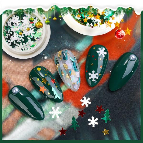 Nueva 6box de uñas Christmas Glitter Flakes Rojo Verde Blanco Nieve metálico rebanada punta del clavo 3D de lentejuelas de la aleación del Rhinestone Decoración