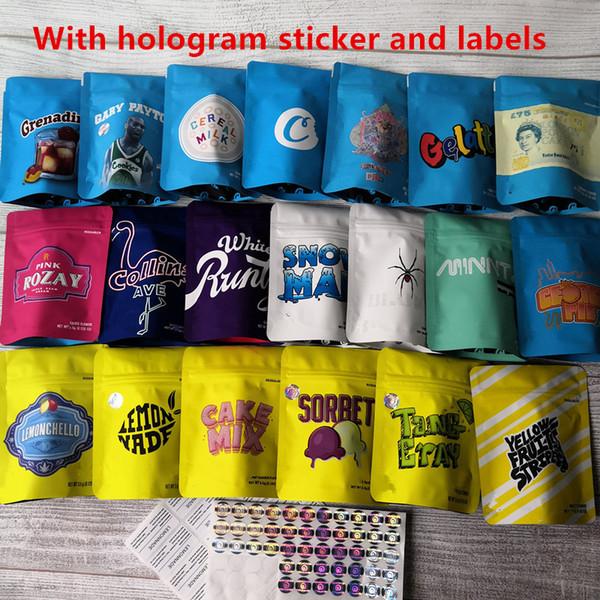 top popular Hot 20 Types COOKIES California SF 3.5g Mylar Bags White Runtz GEORGIA PIE MINNTZ Cake Mix Touch Skin Lemon nade bag packing 2021
