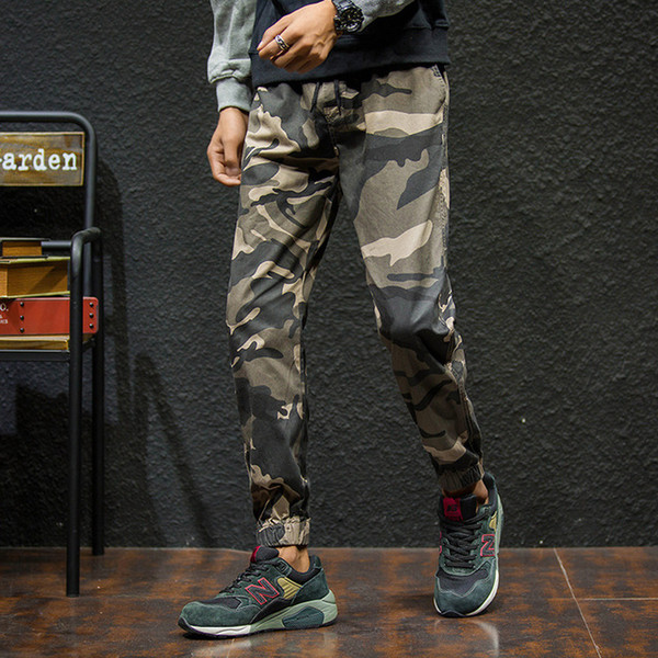 1b8a55a10cb8f High Quality Men Casual Loose Cargo Pants Ankle Length Trousers for Men Camo  Joggers Plus Size