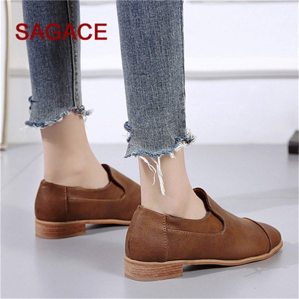 Designer Dress Shoes HB@2019 New Fashion Leather Square Heel Causal Shoe Low Heels Women Single for Ladies Beige/Black/Brown