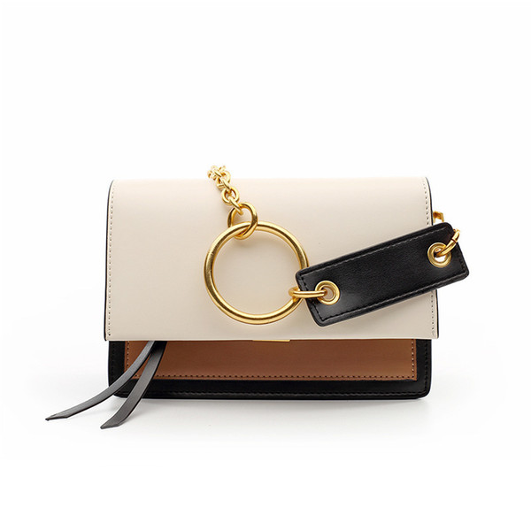 Lovely2019 Catch Lock Leisure Time Hit Color Genuine Leather Woman Package Single Shoulder Span Small Square Bag