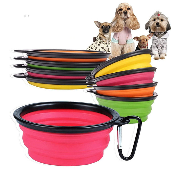 top popular Pet silicone folding bowl Pets Dog Cat Feeding Bowl Portable Travel Collapsible dog bowl key chain pet food plate T9I0199 2021