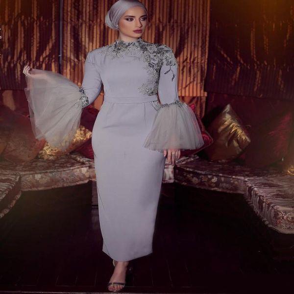 Muslim Volle Ärmel Mutter Der Braut Kleider Oansatz Applikationen Pailletten Mantel Abendkleid Knöchellangen Abendkleider Günstige