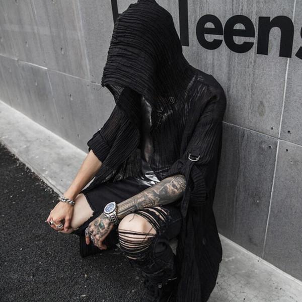 Primavera estate uomo nero sottile cotone lino punk hip hop lungo trench con cappuccio mantello discoteca uomini giacca vintage stile gotico
