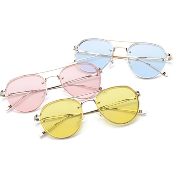 Yeni Şeffaf Lens Yuvarlak Kadınlar Moda Güneş Erkekler Vintage Marka Tasarımcısı Çift Işın Güneş Gözlükleri Bayanlar Kadın 2019