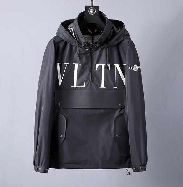 top popular 2019 new designer men's jacket men's brand designer casual winter jacket men's outdoor windbreaker solid color hooded jacket 2019