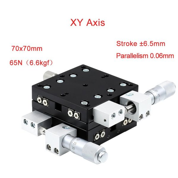 XY Axis 70*70mm Trimming Station Manual Displacement Platform Linear Stage Sliding Table PLY70-L/R/C Rail