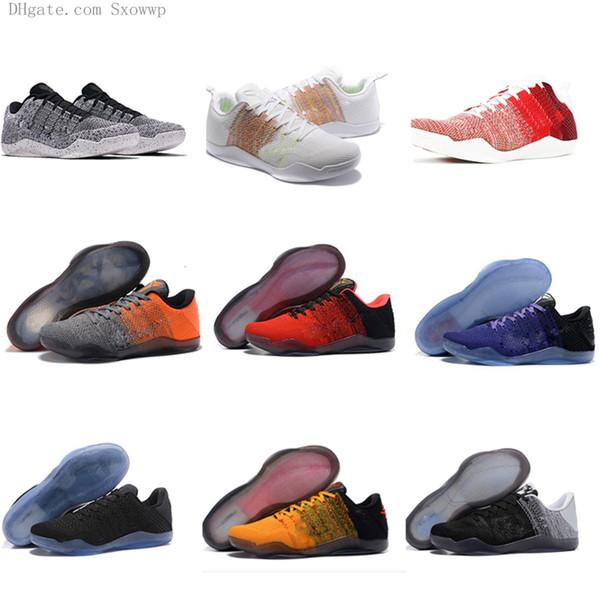 최고 품질 블랙 화이트 사이 이하 제직 스포츠 교육 스니커즈 운동 트레이너 크기 유로 7-12 고베 (11) 엘리트 남성 S 농구 신발
