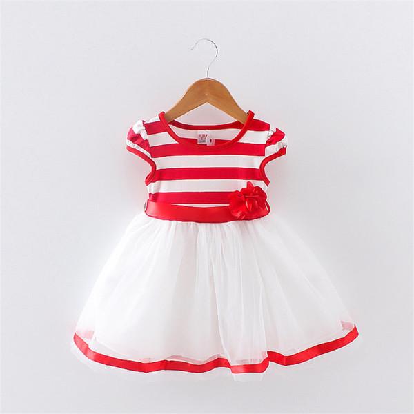 Boa qualidade Bebê Meninas Roupas de Verão Vestido Listra Impresso Sem Mangas Moda Casual Roupas de Algodão Vestidos de Roupas Infantil Colete