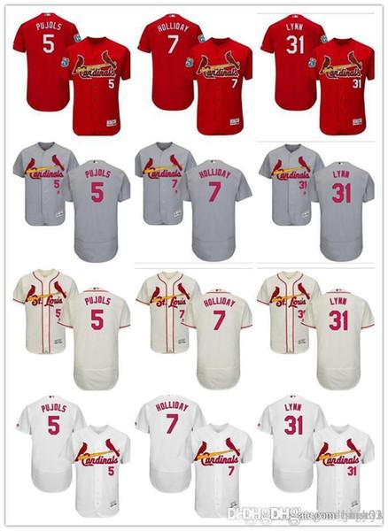 personalizzato Uomo donna gioventù Majestic S.L Cardinals Jersey # 5 Albert Pujols 31 Lance Lynn 7 Matt Holliday Home Rosso Grigio Bianco Maglie da baseball