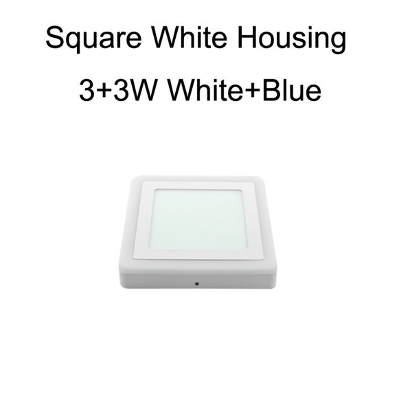 Square White Housing 3+3W White+Blue
