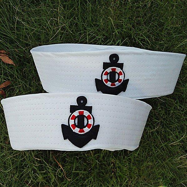 Homens baratos Capitão Branco Vintage Capitão Sailor Chapéu de Marinha Kids com âncora Festa Festa Do Partido Cosplay Cosplay Chaps Traje Para Adulto e Criança Pt
