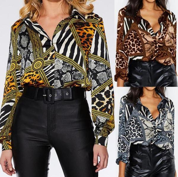 Tiermuster Frauen Designer Shirt Sexy Slim V-Ausschnitt Druck Langarm Designer Chiffon Shirts Mode Urban Damen Bekleidung