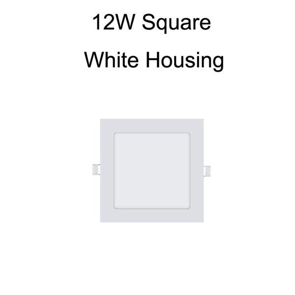 12W Square White Housing