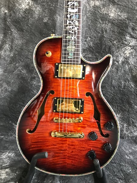 Custom factory selling the latest high quality double f hole abalone vine in the arch body guitar fingerboard electric guitar semi-hollow el