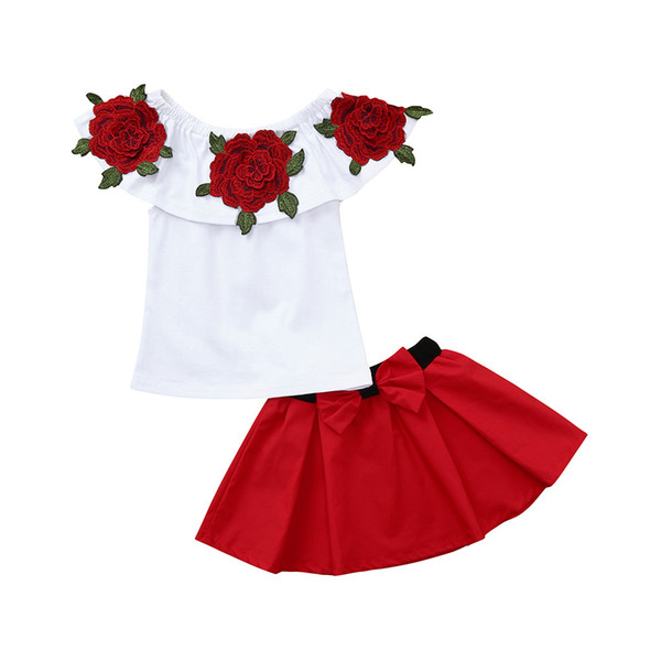 2pcs Fashion Toddler Baby Girls Clothes Set Summer Sleeveless Off Shoulder Embroidery Rose Tops+Mini Skirts Set HOOLER