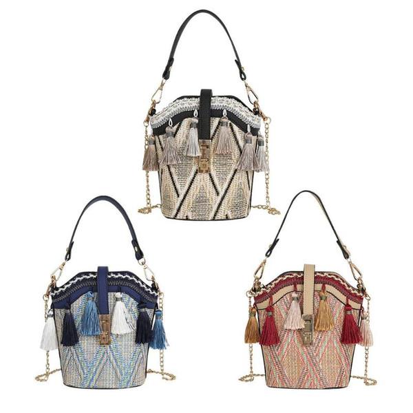 Tassel Decor Shoulder Messenger Handbags Casual Straw Woven Women Summer Beach Chain Crossbody Bucket Packs Top-handle Bags