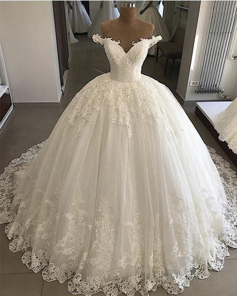 2019 Vintage Lace Vestidos De Casamento Plus Size Apliques Dubai Elegante Vestidos de Noiva Lace Up Inchados Vestidos de casamento Vestido De Novia