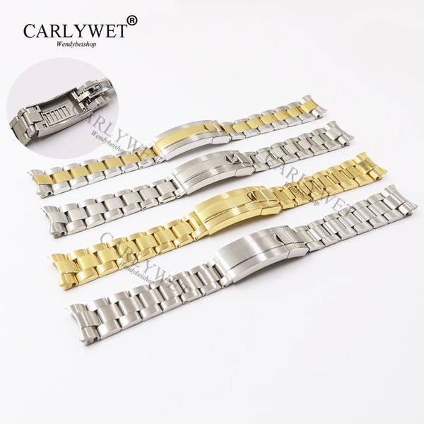 CARLYWET 20mm Two Tone Rose Gold Silver Solid Curved End Screw Link New Style Glide Lock Clasp Steel Watch Band Bracelet