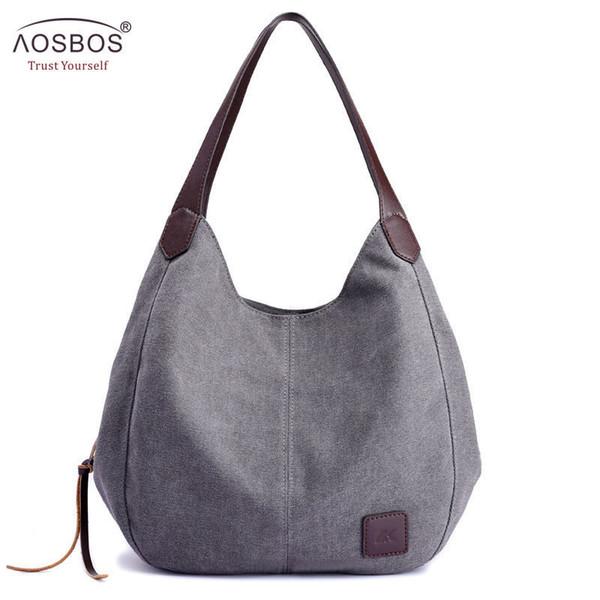 Aosbos 2019 Brand Women's Canvas Handbag High Quality Female Shoulder Bag Vintage Solid Multi-pocket Fashion Ladies Totes Female Y19061301