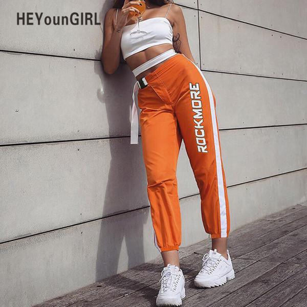 Heyoungirl taille haute Pantalons de survêtement Femmes Casual Streetwear Capri Pantalons Femmes Patchwork Track Pants Lettre Imprimer Pantalon Long Y19071701