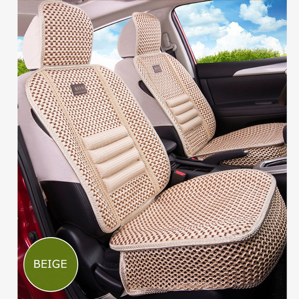 car covers summer KKYSYELVA 1pcs Front Universal Car seat Cover Summer Lumbar support for office home Chair Cushion Cover Silk