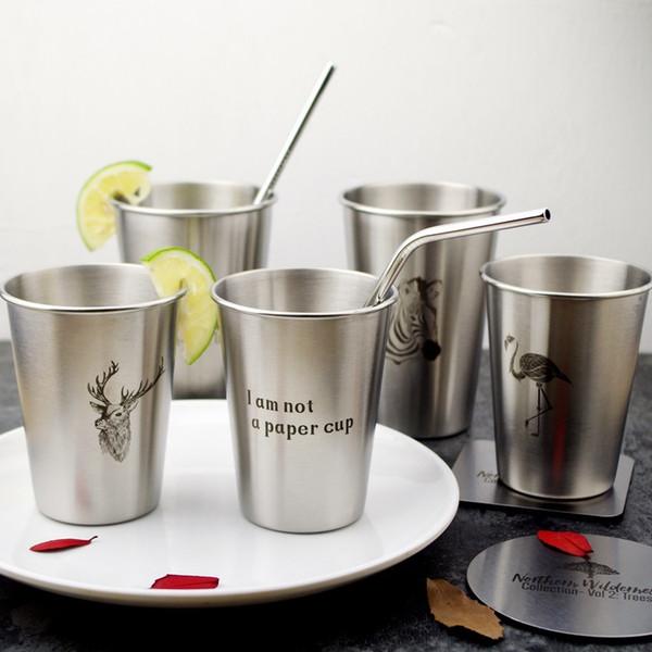 Vaso de una sola capa estilo INS 350 ml 500 ml Nordic Simple Industrial Flamingo Acero inoxidable Vasos de cerveza Cepillo de dientes de agua fría Pareja Copa