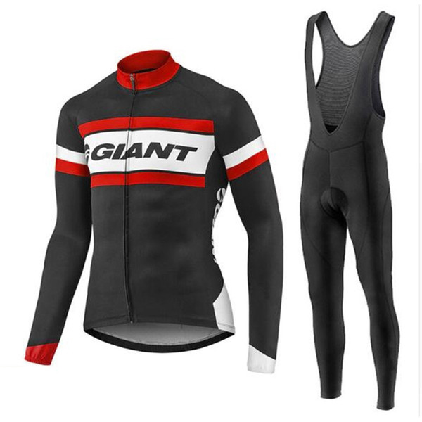 Гигантская команда Велоспорт с длинными рукавами Джерси нагрудник брюки устанавливает новый дышащий велосипед одежда Quick Dry Sportswear 3D гель pad U53139