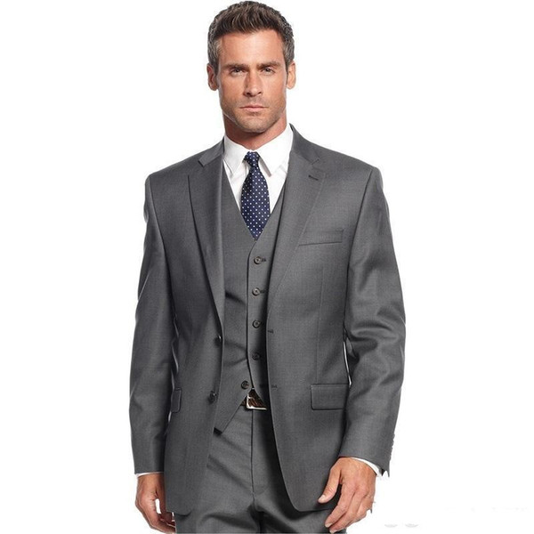Fashion Grey Groom Tuxedos Notch Lapel Groomsmen Mens Wedding Dress Excellent Man Jacket Blazer Business Suit(Jacket+Pants+Vest)