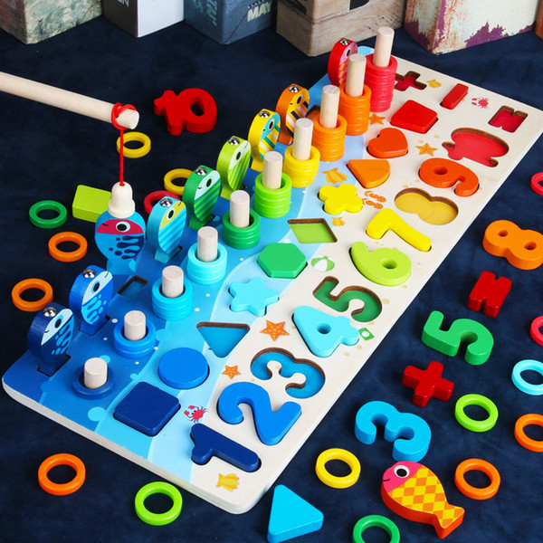 top popular Montessori Educational Wooden kids Board Math Fishing Count Numbers Matching Digital Shape Match Early Education building block Toy 2020