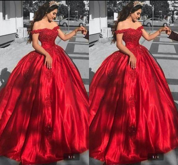 2019 moda espartilho quinceanera vestidos off ombro cetim vermelho formal vestidos de festa querida lantejoulas rendas applique vestido de baile vestidos de baile