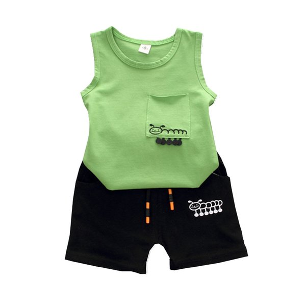 Fashion Summer Children Boys Girls Clothing Suits Baby Cartoon Caterpillar Vest Shorts 2Pcs/Sets Kids Cotton Outfit Tracksuits