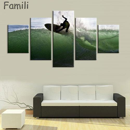 5Pieces/set Printed Surfing Group Painting Wall Art Children'S Room Decor Print Poster Picture Canvas Painting No Frame