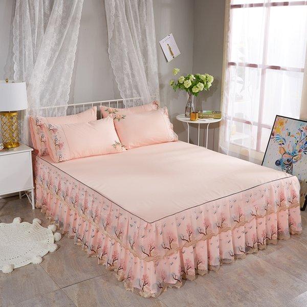 Color melocotón Elegante Con volantes Bordado Cama de encaje Falda Funda de almohada Queen Juego de sábanas de cama de algodón de tamaño completo Juego de doble capa de encaje