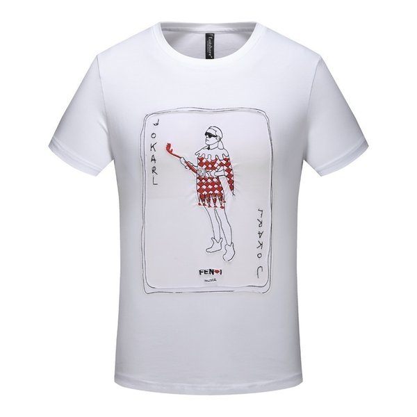 Men's T-shirt high quality personality playing card embroidery printing short-sleeved tide men mustoClearance