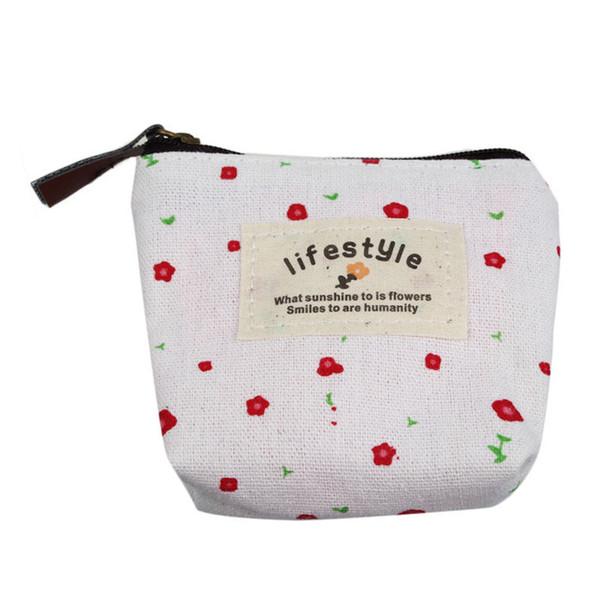 2019 New Gold Band Small Canvas Purse Zip Women's Wallet Lady Coin Case Bag Handbag Key Holder Clutch Bag