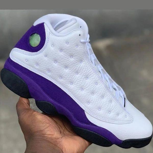 Mens Jumpman retro aj 13s basketball shoes j13 White Purple Gold Lakers 2019 new chameleon aj13 air flight sneakers boots with box size 7 13