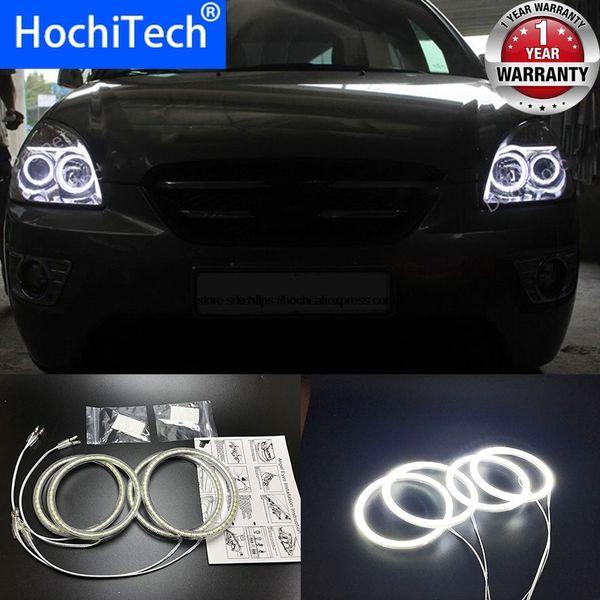 HochiTech para Kia Carens Rondo 2006-11 Ultra branco brilhante SMD LED olhos de anjo 2600LM 12V auréola kit anel diurno DRL luz em execução