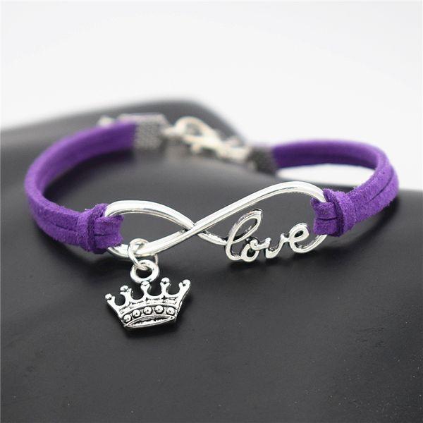 High Quality Infinity Love King Crown Pendant Charm Bracelet & Bangles Women Men Charm Handmade Purple Leather Suede Wrap Metal Jewelry Gift