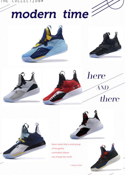 33 33s Mens basketball designer de chaussures de tennis formateurs utilitaire basket multicolore 33s pour Top qualité Hommes Jogging Sneaker Taille NOUS 7-12