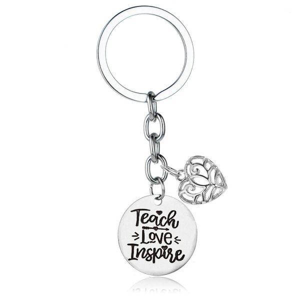 12PC Wholesale Graduate Hollow Heart Love Teacher Teach Love Inspire Pendant Keychain Student Friend Family Gifts Keyring Charm