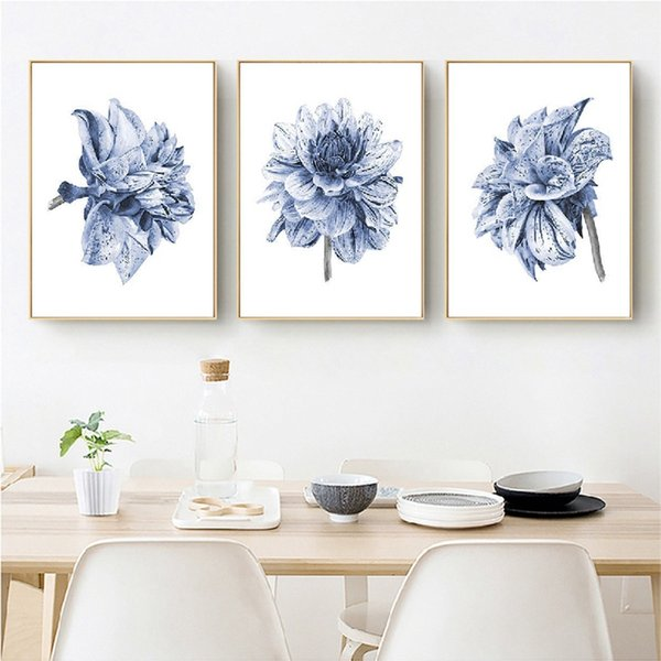 2019 Watercolor Painting Farmhouse Bedroom Wall Decor Boho Dahlia Flower  Canvas Art Posters And Prints Navy Blue Wall Art Pictures From Georgely, ...