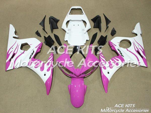 ACE KITS Carenado de motocicleta para YAMAHA YZF R6 2003-2005 Inyección o Compresión Carrocería impresionante blanco rosado NO.2247