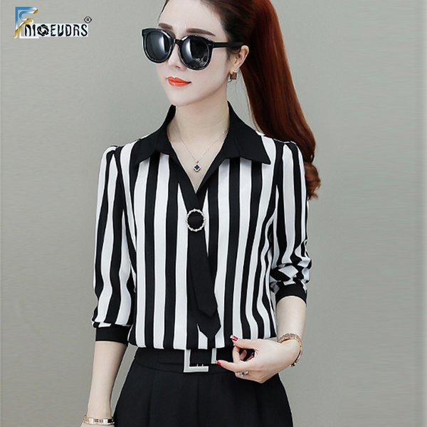 European Style Basic Shirts Blouses Women Tops Long Sleeve Bow Tie Top Design Office Lady V Neck Stripe White Button Shirt