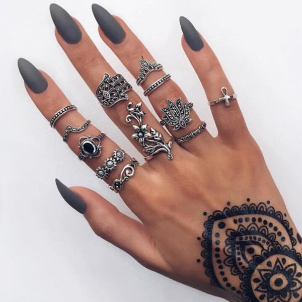 5Set Europe and America Retro Bohemian style Ancient silver flower hand element ring combination suit female fashion popular Jewelry