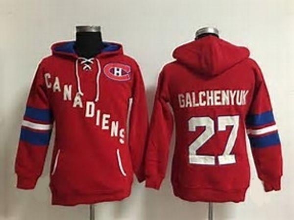 Venta caliente Para Hombre Montreal Canadiens 27 Alex Galchenyuk Mejor Calidad Barato Bordado Completo Logos Sudaderas Con Capucha de Hockey Sobre Hielo Acepta el Tamaño de Orden S-3XL