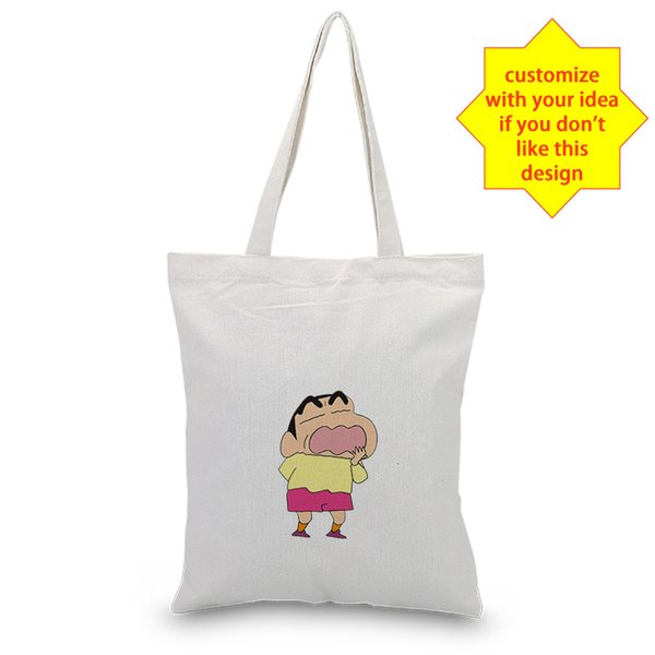 Canvas Crayon Shin-chan Tote Bag Texto DIY Uso Diário Custom Logo Imprimir Handbag Shopping Bag Eco reutilizável Recycle