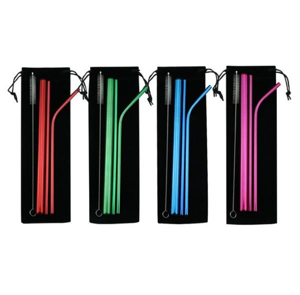 1LOT = 5Pcs Accessorie DHL della barra del partito del succo delle paglie piegate diritte beventi dirette della cannuccia dell'acciaio inossidabile Trasporto libero del DHL